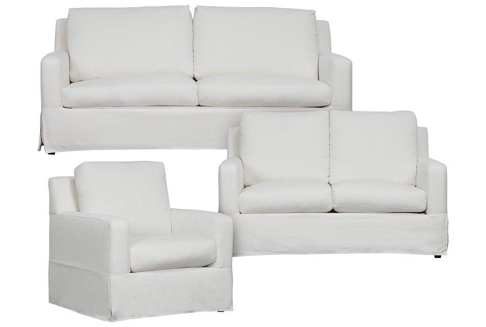 Bree White Fabric Living Room