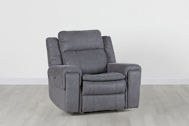 Scout Gray Micro Power Recliner With Power Headrest (0)