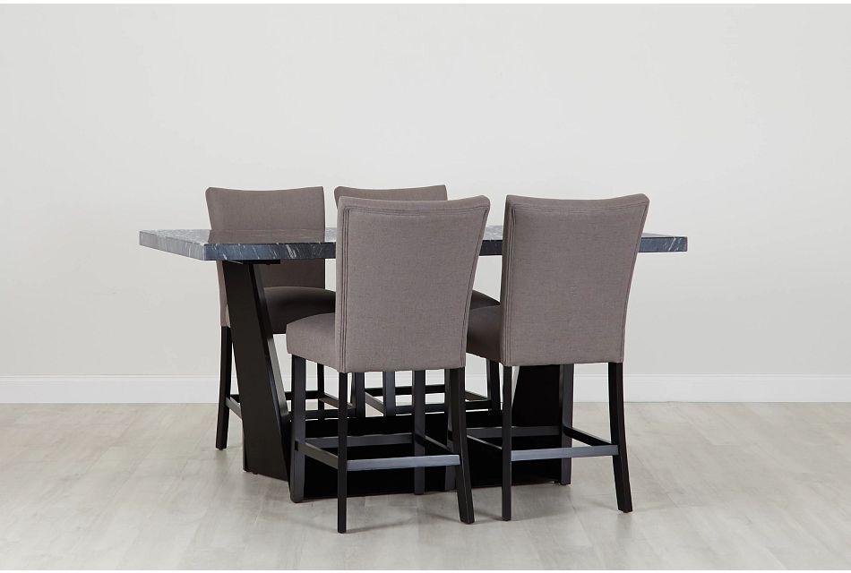 Auburn Dark Gray High Table & 4 Dark Gray Upholstered Barstools, %%bed_Size%% (0)