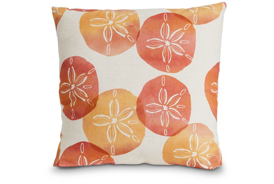 "Sand Dollar Orange Fabric 20"" Accent Pillow,  (1)"