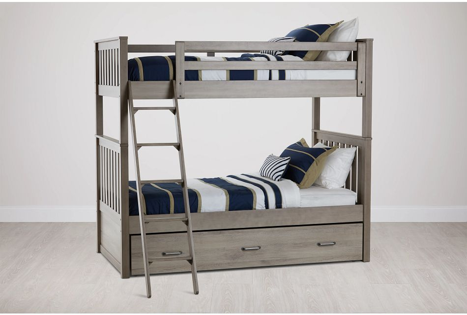 Rivercreek Gray Wood Trundle Bunk Bed