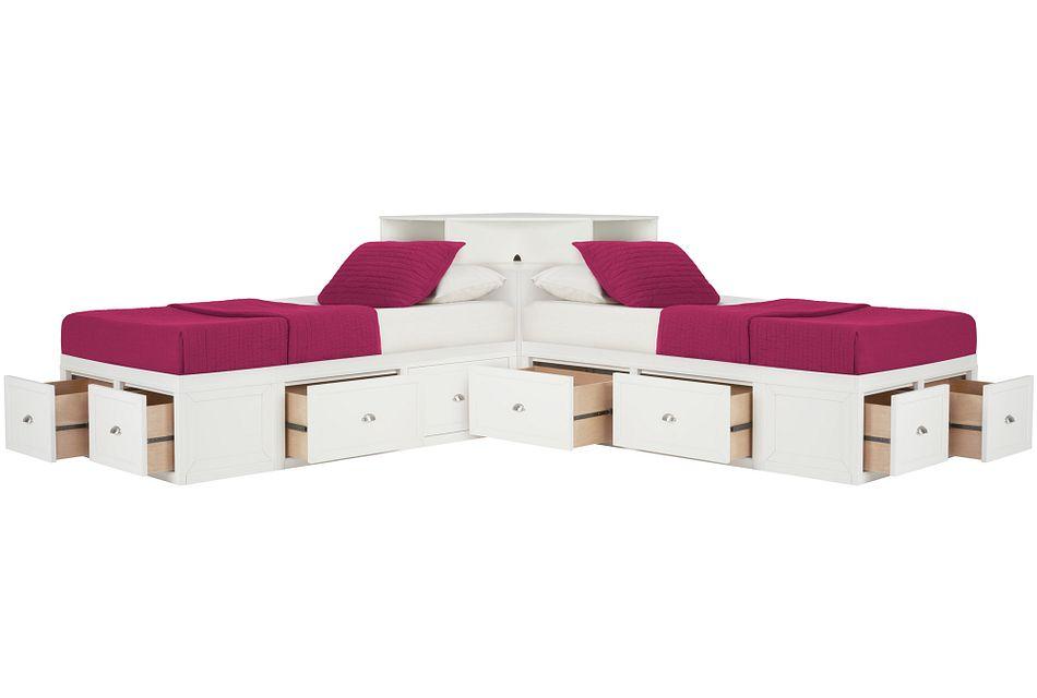Spencer WHITE STORAGE Corner Platform Storage Beds, Twin (0)