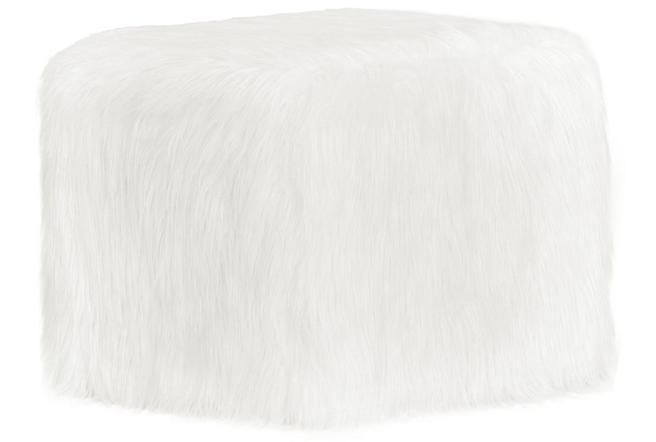 Shag White Accent Pouf