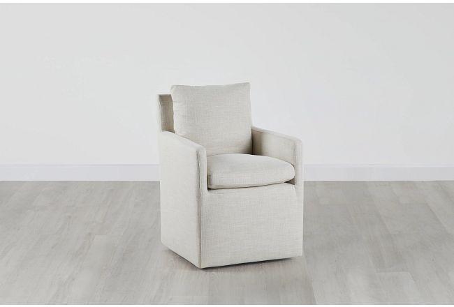 Auden Light Beige Castored Upholstered Arm Chair