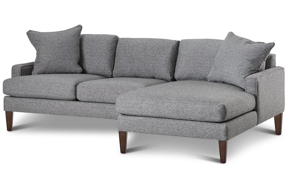Morgan Dark Gray Fabric Small Right Chaise Sectional W/ Wood Legs