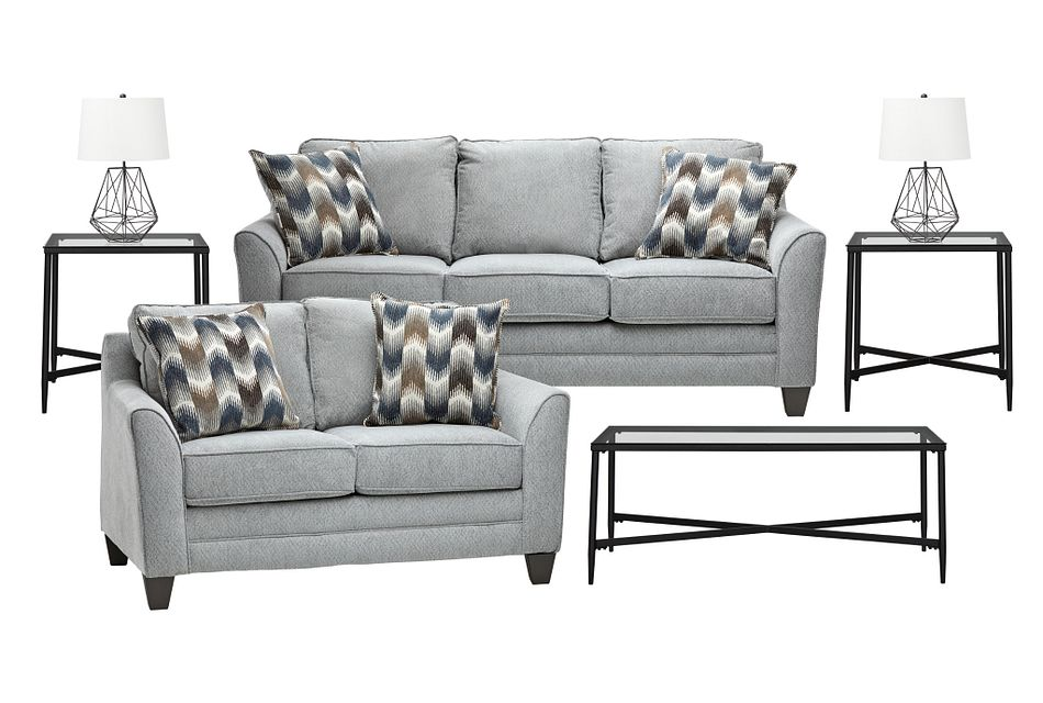 Charlie Light Gray  FABRIC 7-Piece Living Room Package