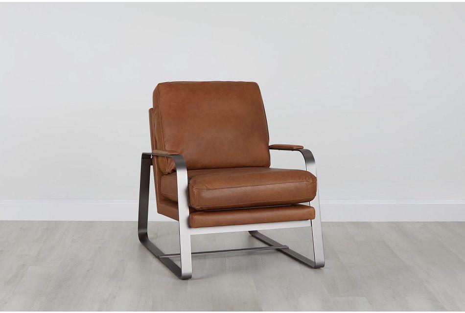 Lex Brown Lthr/vinyl Accent Chair, %%bed_Size%% (0)