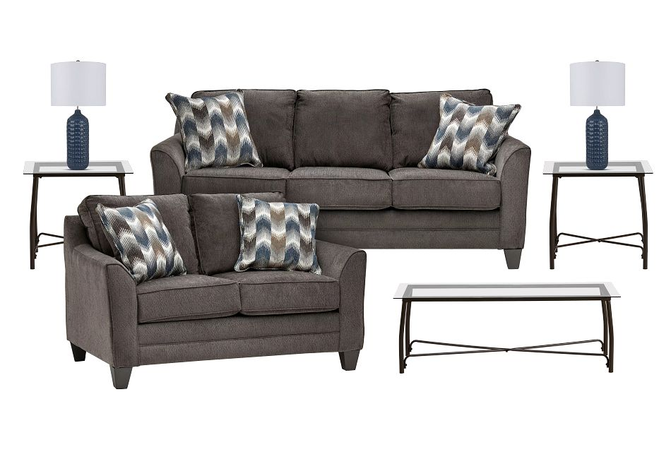 Charlie Dark Gray Fabric 7-piece Living Room Package