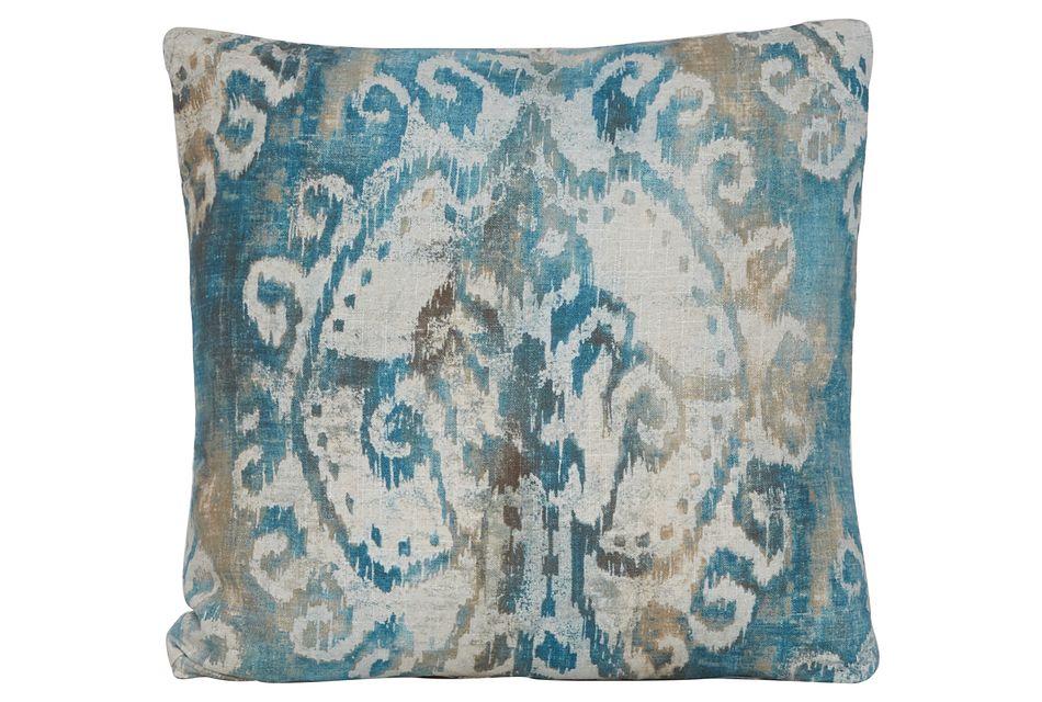 Soledad Blue Fabric Square Accent Pillow