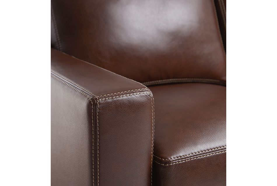 Carson Medium Brown Leather Small Left Chaise Sectional