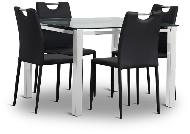 Skyline Black Square Table & 4 Upholstered Chairs (2)