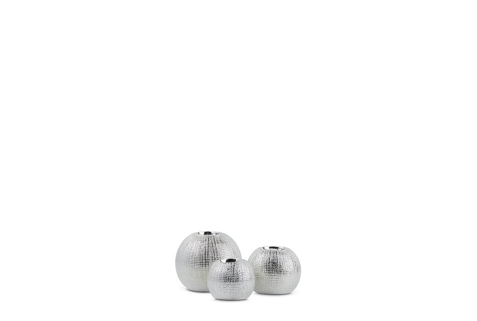 Storm Silver Set Of 3 Candle Holder