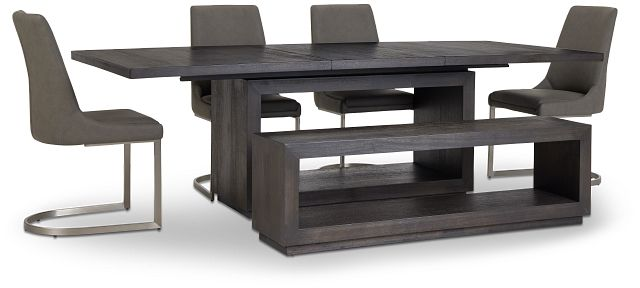 Madden Dark Tone Table, 4 Chairs & Bench (3)