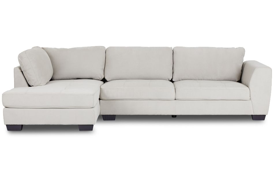 Perry Light Gray Micro Left Chaise Sectional,  (3)