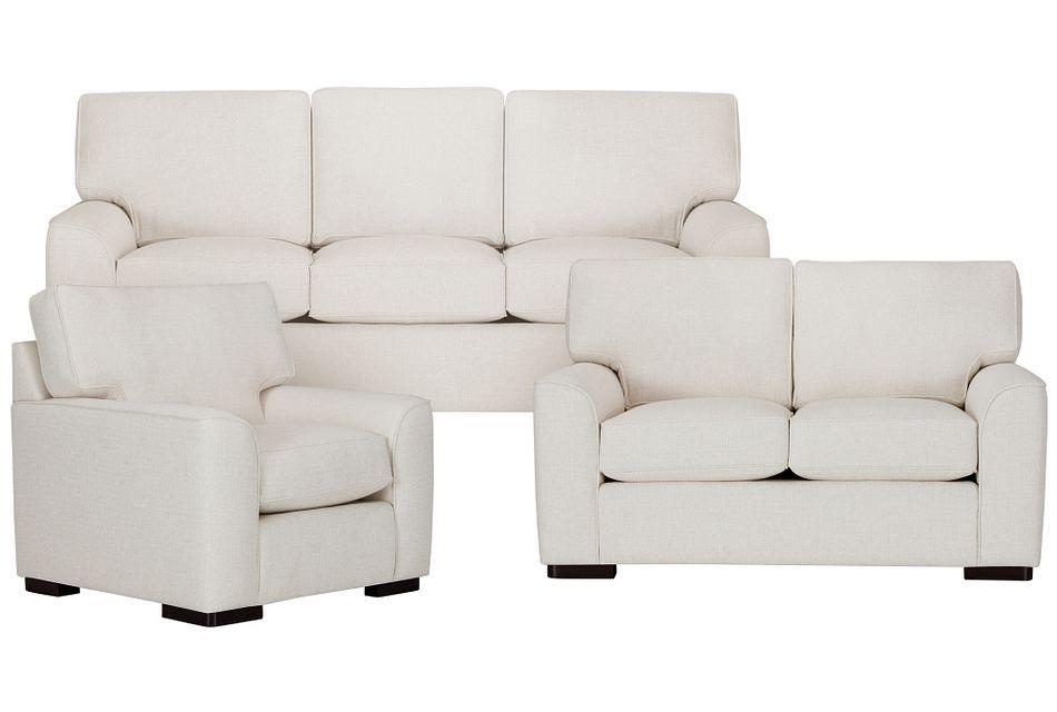 Austin White Fabric Living Room