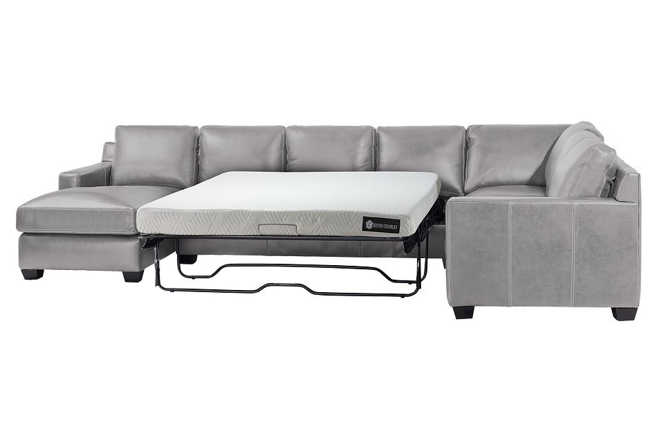 Carson Gray Leather Medium Left Chaise Memory Foam Sleeper Sectional