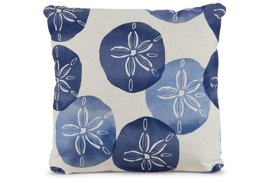 "Sand Dollar Blue Fabric 18"" Accent Pillow,  (1)"