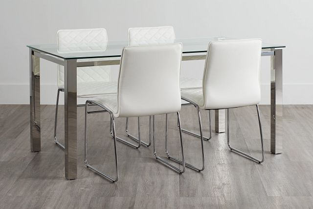 Skyline White Rect Table & 4 Metal Chairs (0)