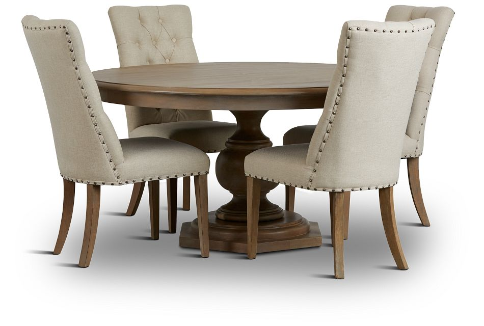 Haddie Light Tone Round Table & 4 Upholstered Chairs