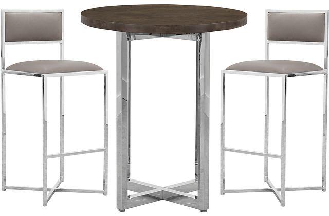 Amalfi Taupe Wood Pub Table & 2 Metal Barstools (0)