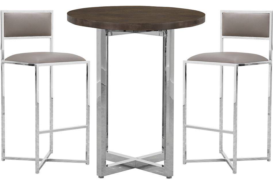 Amalfi Taupe Wood Pub Table & 2 Metal Barstools
