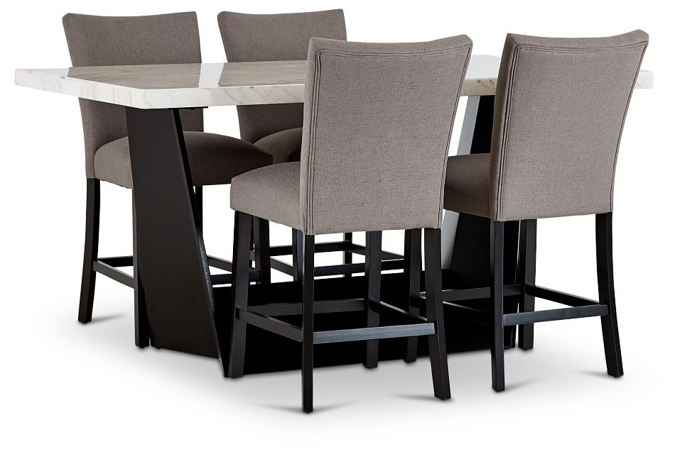 Auburn White High Table & 4 Dark Gray Upholstered Barstools, %%bed_Size%% (1)