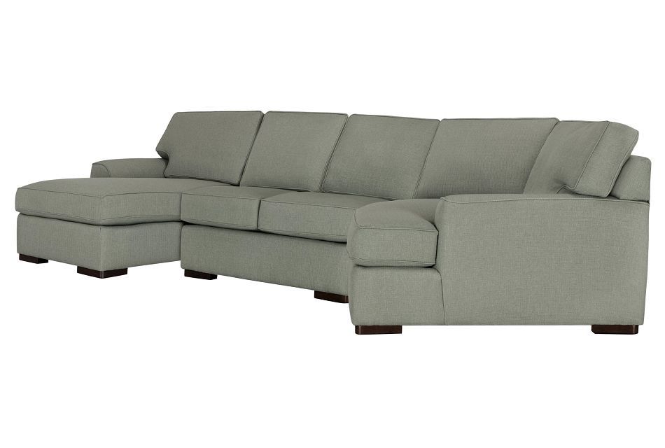Austin Green Fabric Left Facing Chaise Cuddler Sectional