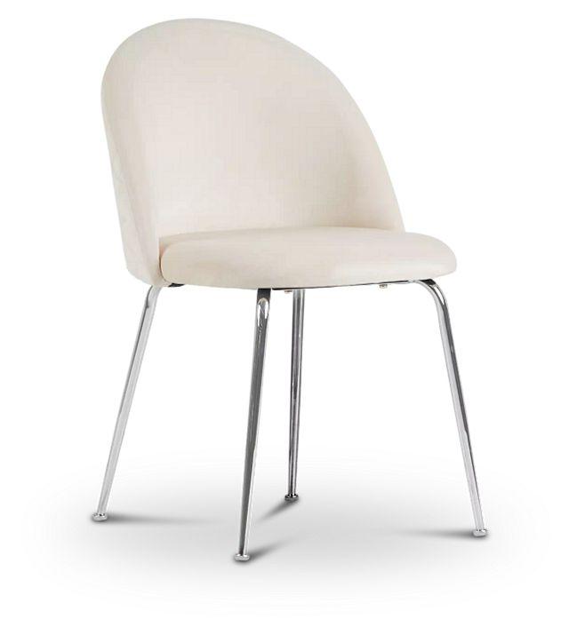 Capri Ivory Upholstered Side Chair W/ Chrome Legs (1)