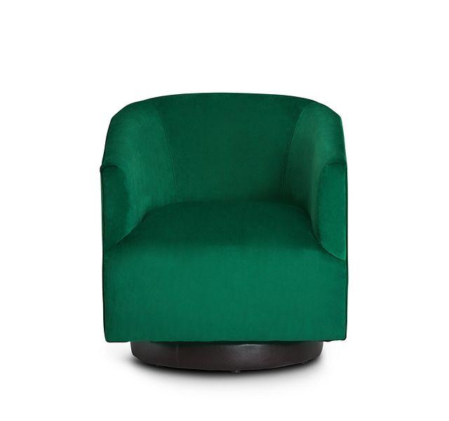 Charlotte Dark Green Velvet Swivel Accent Chair (3)