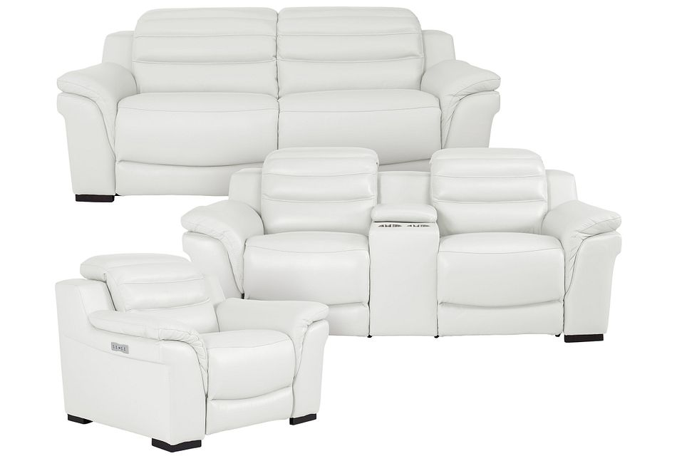Sentinel White Lthr/vinyl Power Reclining Living Room