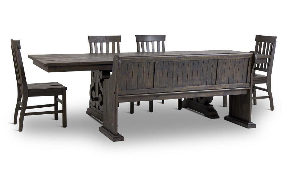 Sonoma Dark Tone Trestle Table, 4 Chairs & Bench,  (3)