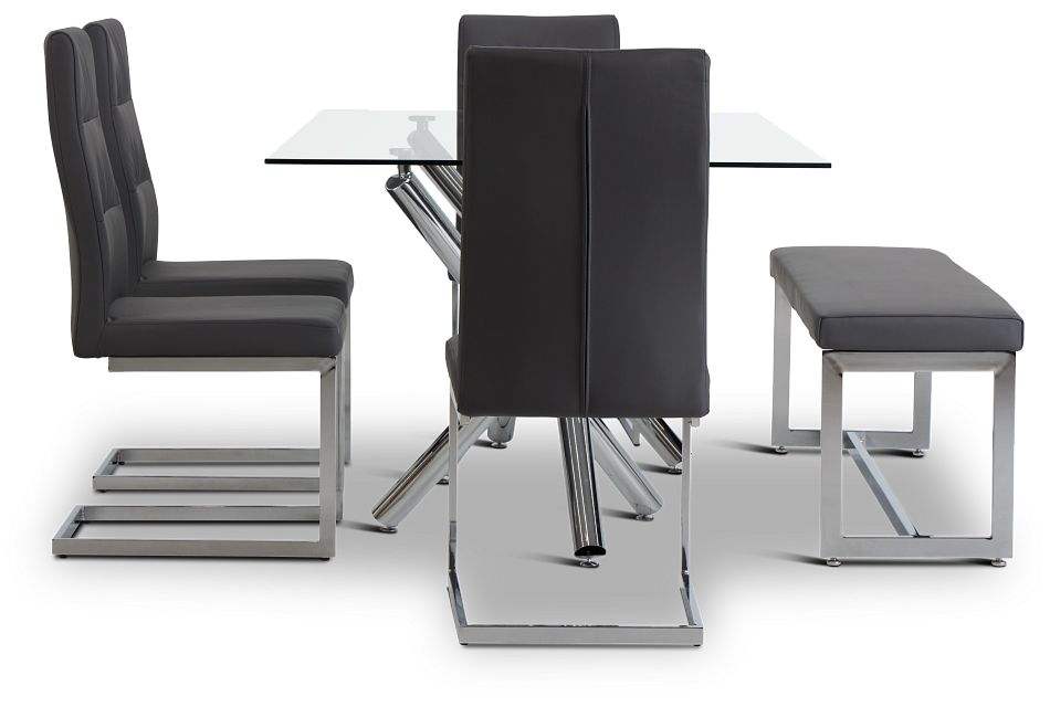 Quincy Glass Gray Table, 4 Chairs & Bench,  (2)