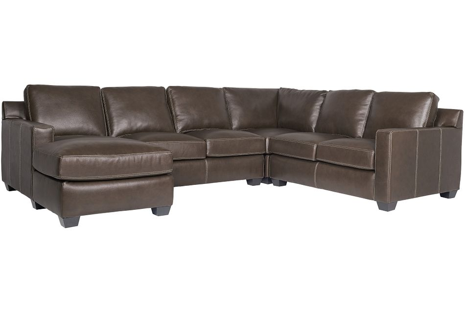 Carson Dark Brown Leather Medium Left Chaise Sectional