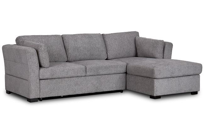 Amber Dark Gray Fabric Small Right Chaise Sleeper Sectional