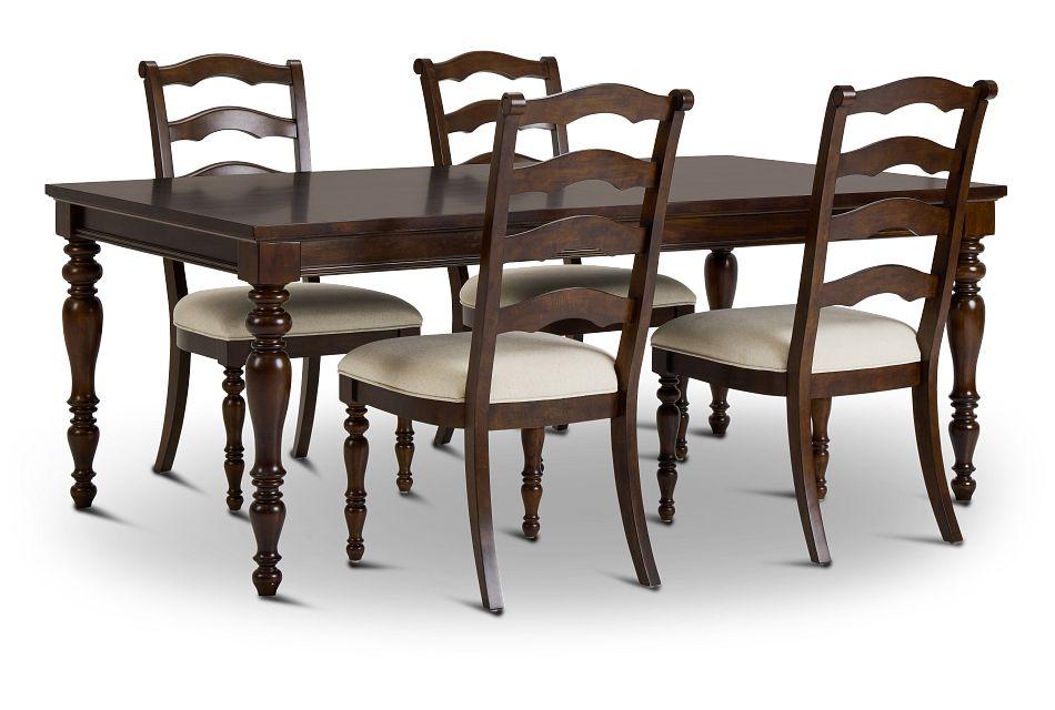 Savannah Dark Tone Rect Table & 4 Chairs,  (1)
