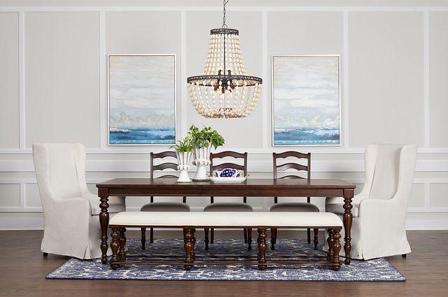 Savannah Dark Tone Rectangular Table And Mixed Chairs (3)