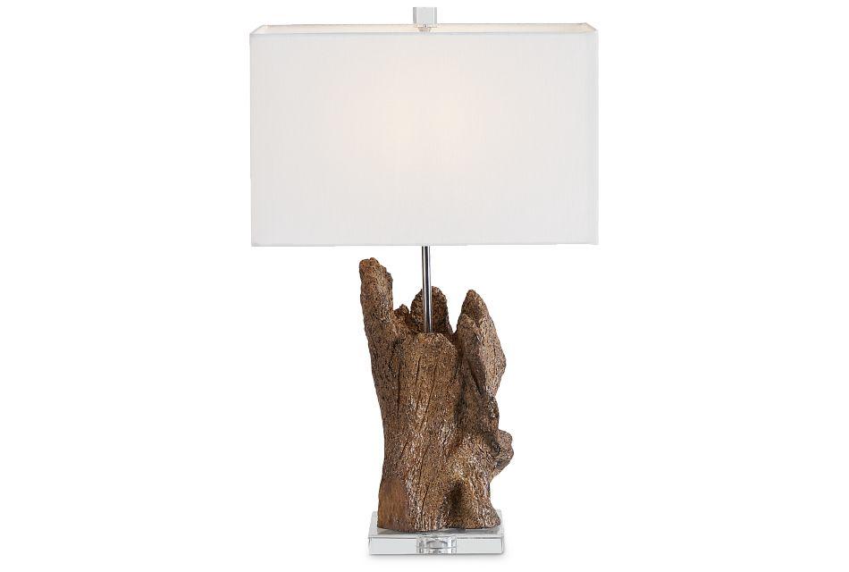 Iris Wood Polyresin Table Lamp,  (2)