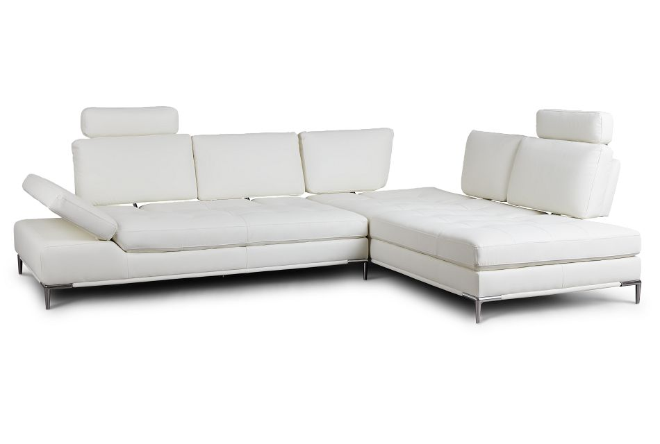 Camden White Micro Right Chaise Sectional With Removable Headrest