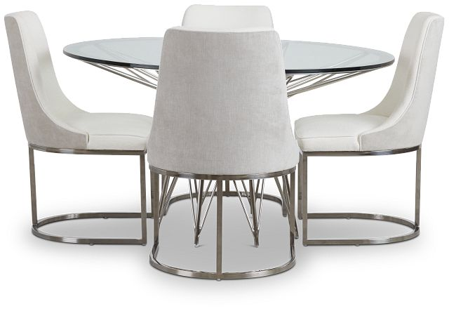 Cullen Glass Round Table & 4 White Upholstered Chairs (2)