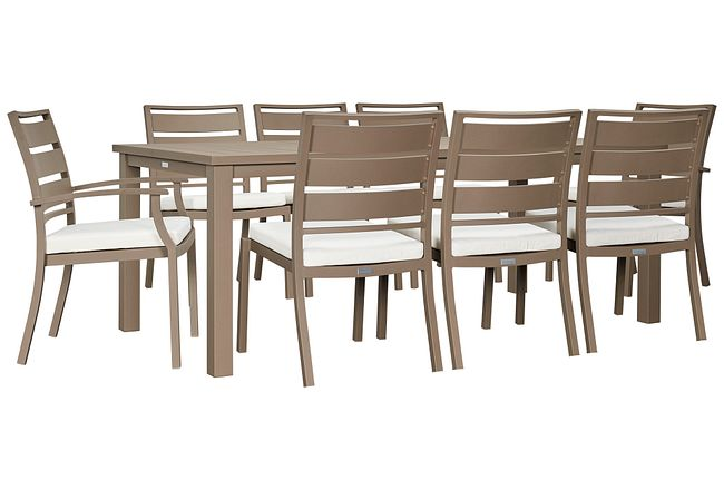"""Raleigh White 81"""" Rectangular Table & 4 Cushioned Chairs"""