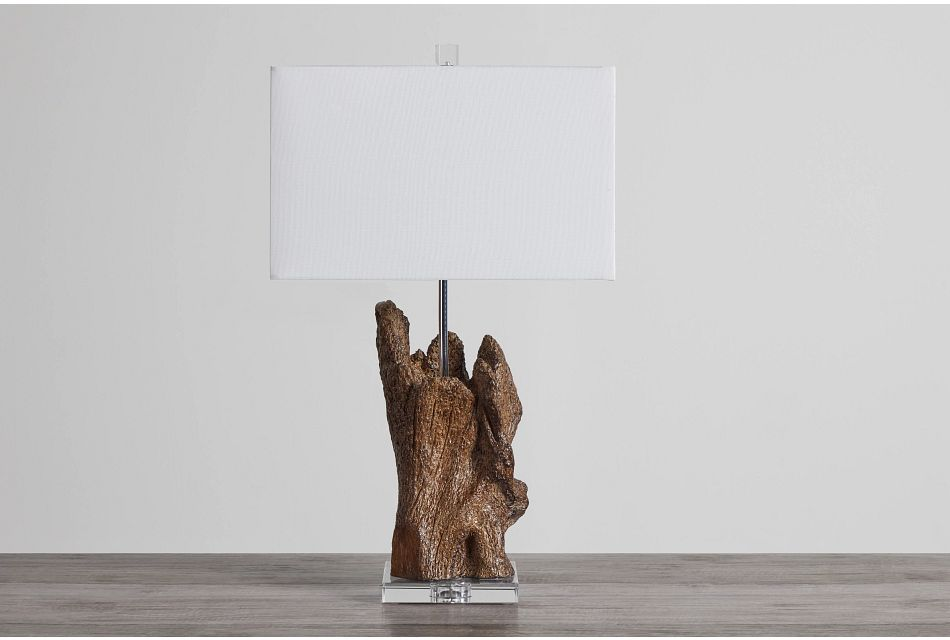 Iris Wood Polyresin Table Lamp,  (0)