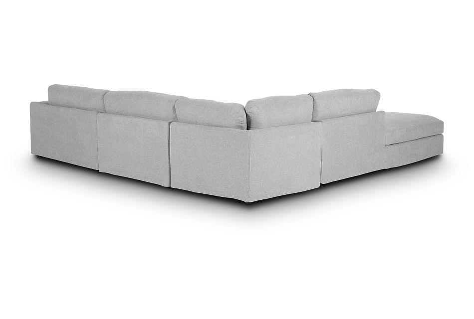 Cozumel Light Gray Fabric 5-piece Left Facing Bumper Sectional