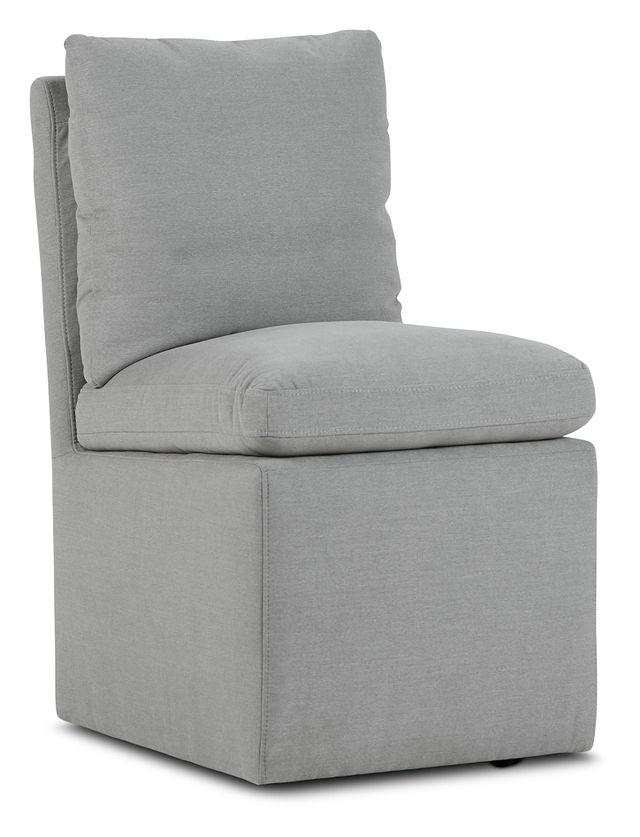 Auden Light Gray Castored Upholstered Side Chair (1)