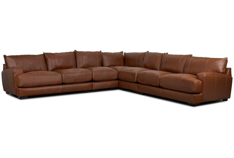Dakota Brown Lthr/vinyl Large Two-Arm Sectional,  (1)