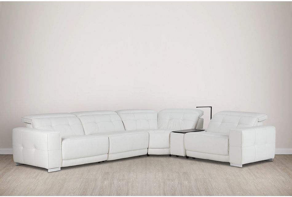 Reva White Leather Small Triple Power Reclining Two-arm Sectional