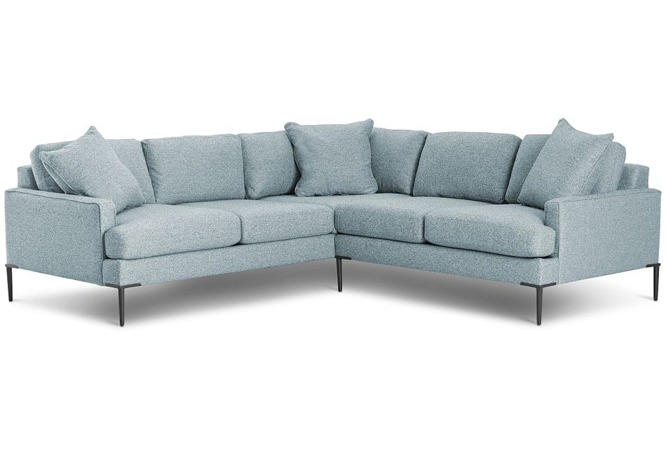 Morgan Teal Fabric Small Right 2-arm Sectional W/ Metal Legs