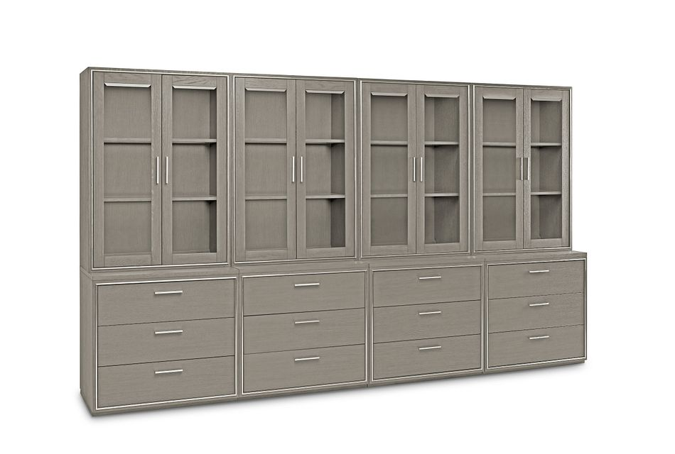 Highline Gray Drawer Bookcase Wall