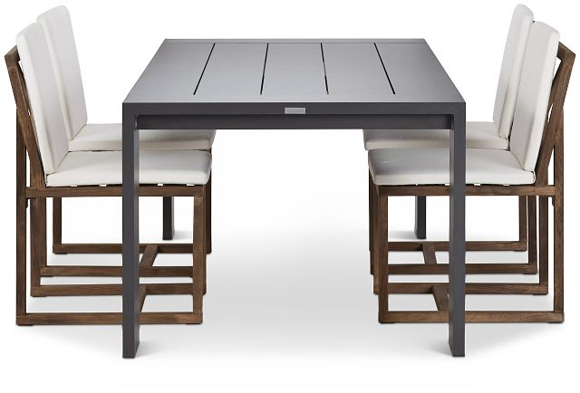 """Linear Dark Gray White 87"""" Aluminum Table & 4 Teak Cushioned Side Chairs (1)"""