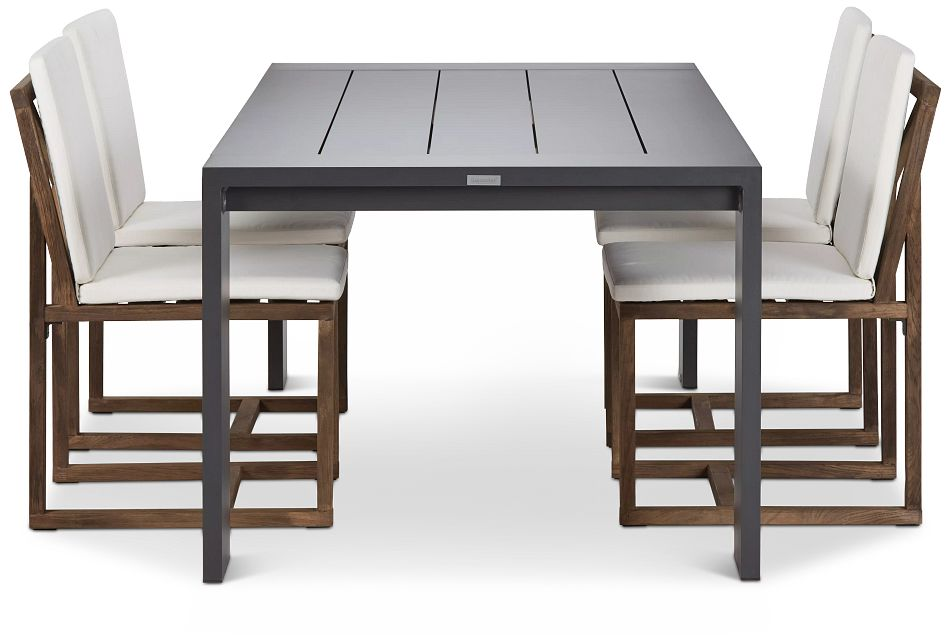 "Linear Dark Gray White 87"" Aluminum Table & 4 Teak Cushioned Side Chairs"