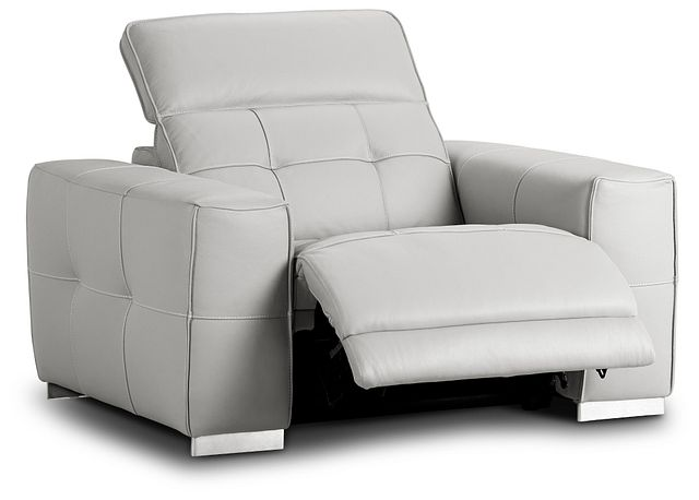 Reva Gray Leather Power Recliner With Power Headrest (2)